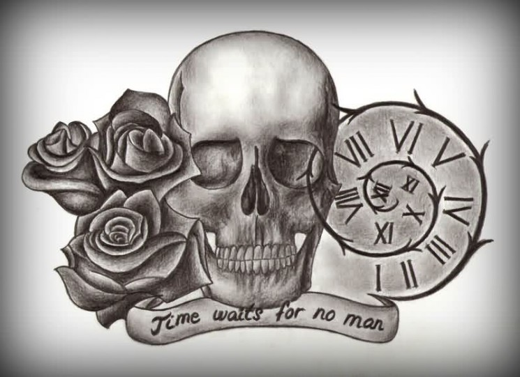 Time Waits For No Man Sandclock Tatto