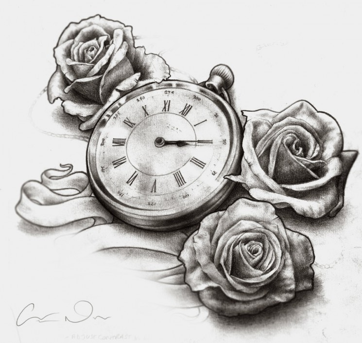 Timeless Clock And Roses Sleeve Tattoo Design