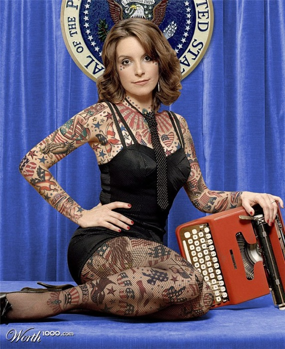 Tina Fey Full Body Tattoos