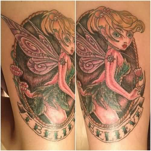 Tinkerbell Without Color Tattoo Sample