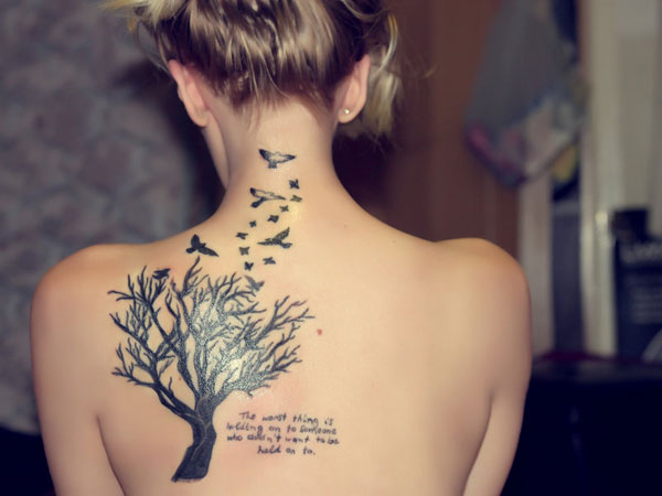 Tiny Birds Tattoo On Upper Back For Girls