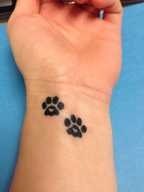 Tiny Pink Heart Paw Print Tattoo On Wrist