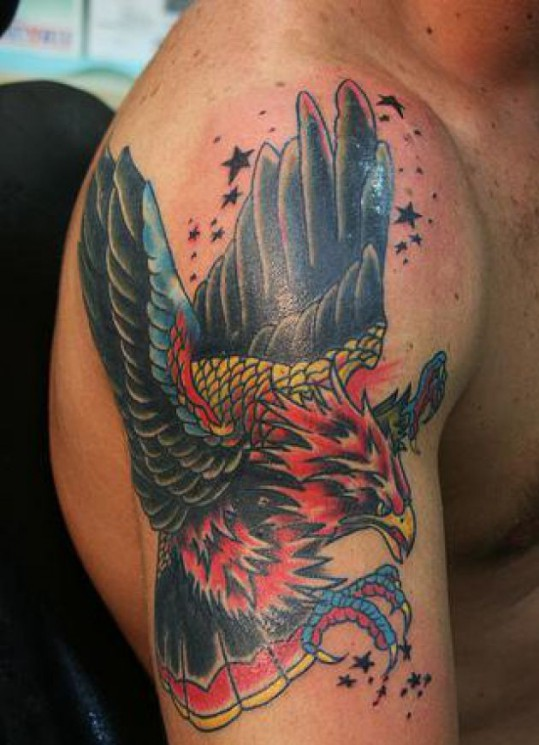Tiny Stars And American Eagle Tattoo On Biceps