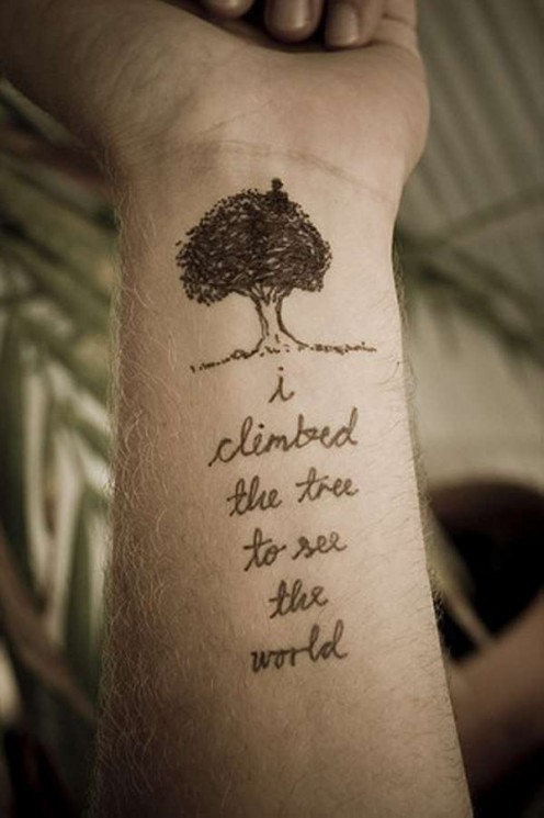 Tiny Words Literary Tattoo On Wrist