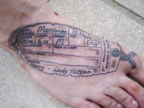 toe tag tattoo in 2017 real photo pictures images and