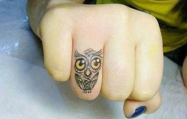 Too Cute Owl Tattoo On Finger