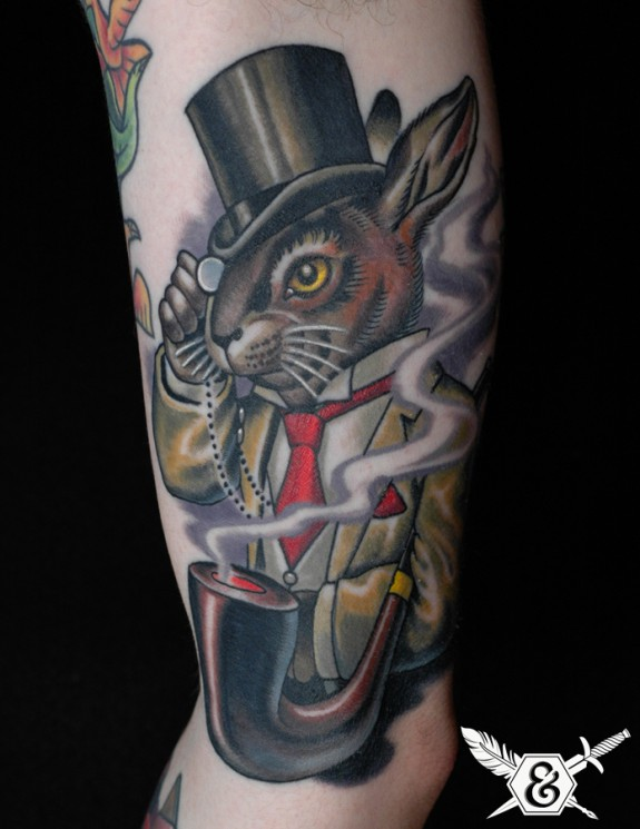 Tophat Rabbit And Flame Tattoos