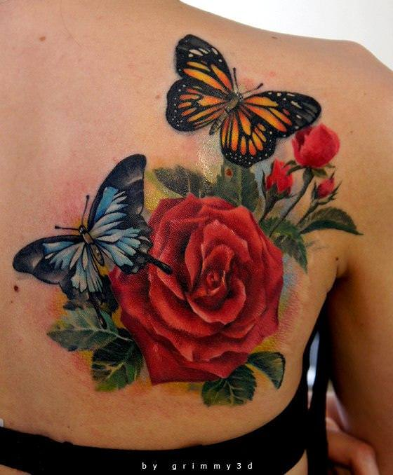 Topless Back With Butterflies And Rose Tattoos