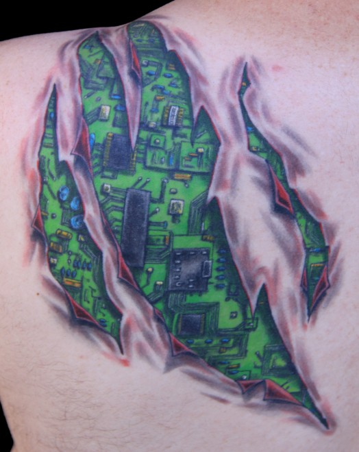 Torn Ripped Skin Circuit Board Tattoo For Men