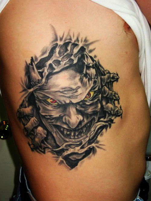 Torn Ripped Skin Lady Face Tattoo Picture