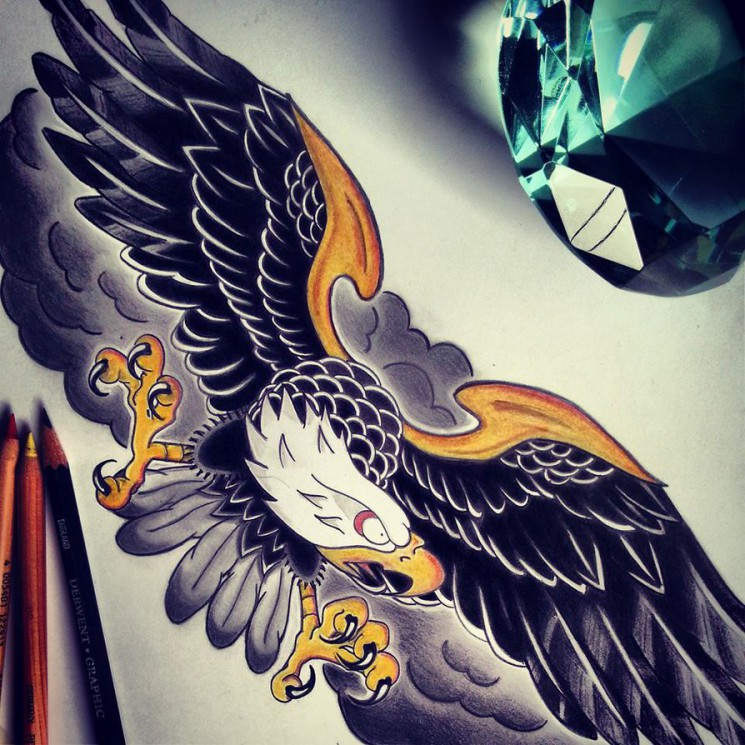 Traditional American Eagle Tattoo