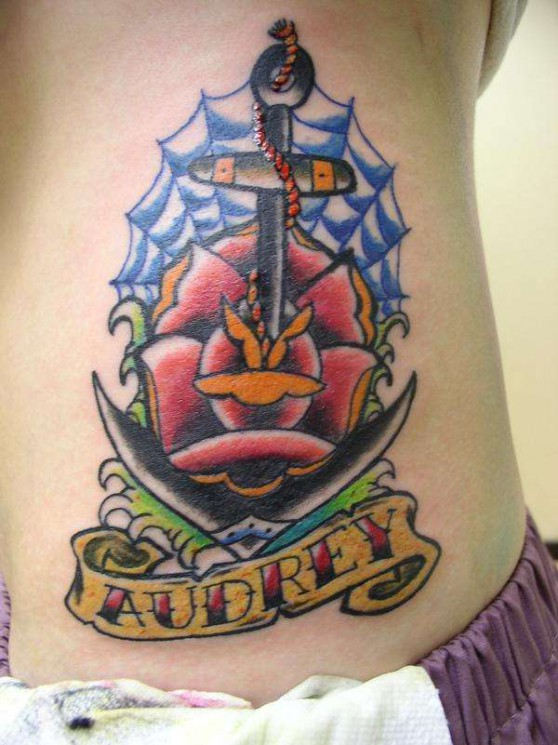 Traditional Anchor Rose Tattoo