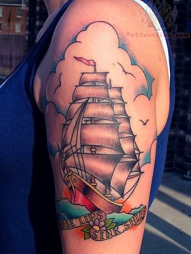 Traditional Anchor Ship Tattoo On Biceps