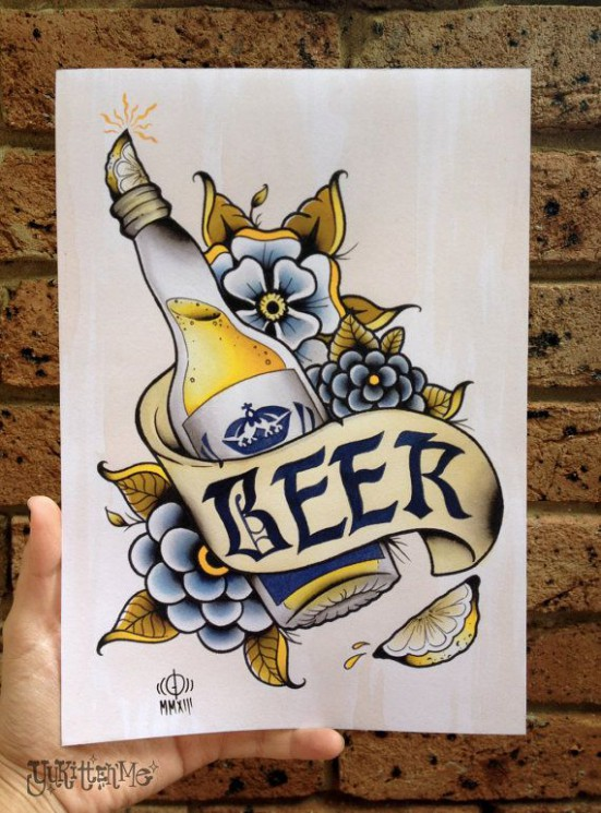 Traditional Beer Tattoo For Chest