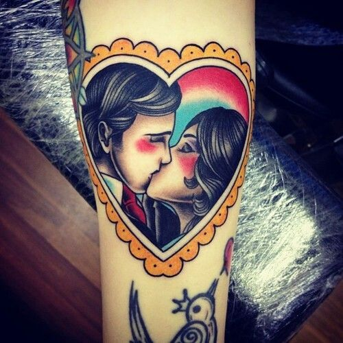 Traditional Couple Heart Tattoo On Arm