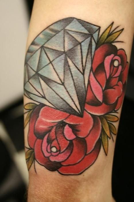 Traditional Diamond And Roses Tattoos