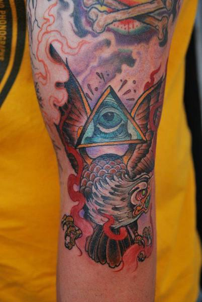 Traditional Eagle And All Seeing Eye Tattoo