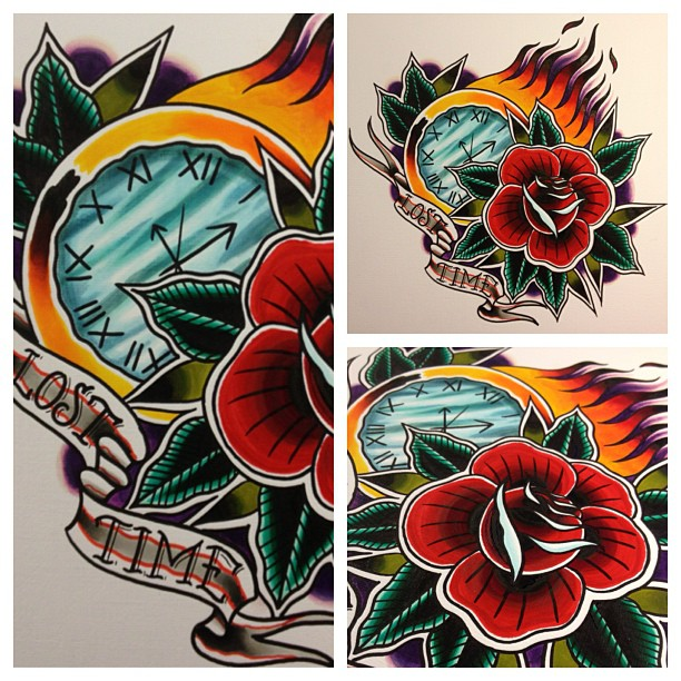 Traditional Flowers And Clock Tattoo Designs