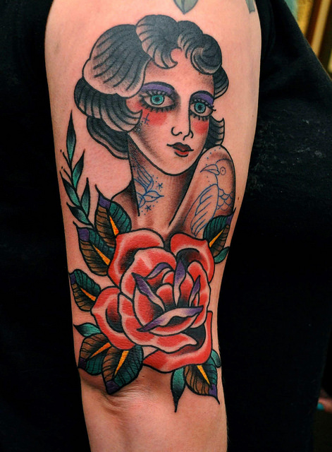 Traditional Girl Head And Eagle Tattoo Designs