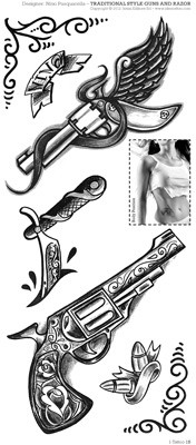 Traditional Gun Tattoo Pack