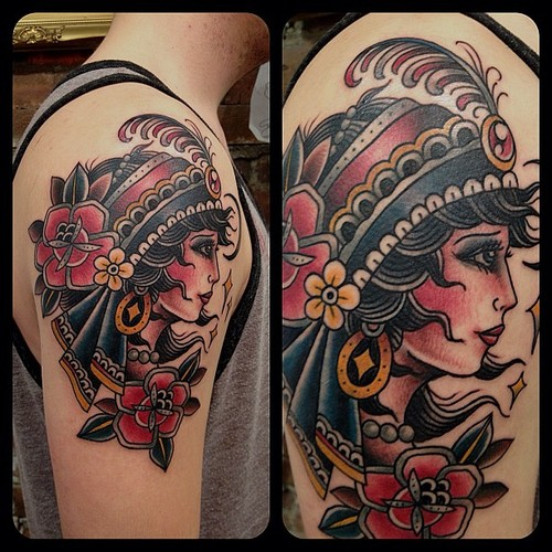 Traditional Gypsy Tattoo For Shoulder