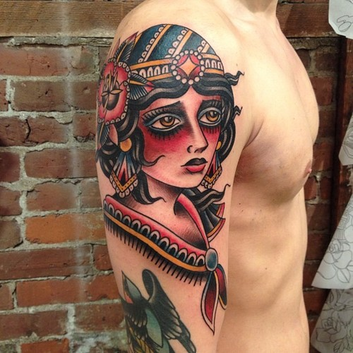 Traditional Gypsy Tattoo On Right Shoulder For Men