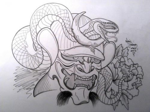 Traditional Hannya Mask Tattoo Design