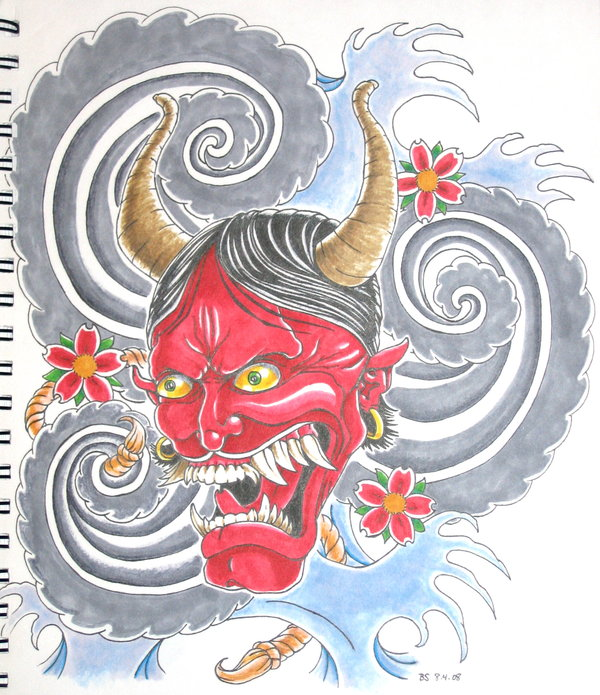 Traditional Japanese Hannya Mask Tattoo Design