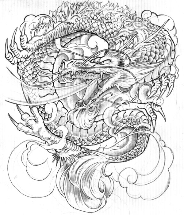 Traditional Japanese Mask Tattoo Sketch