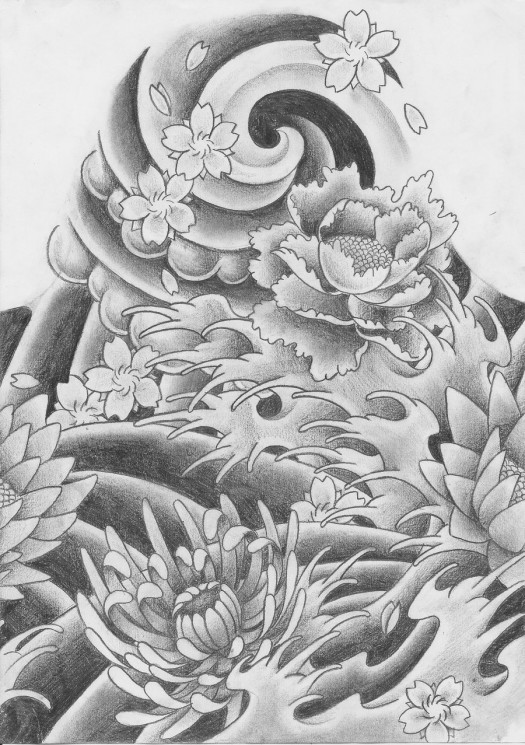 Traditional Japanese Waves Tattoo Design