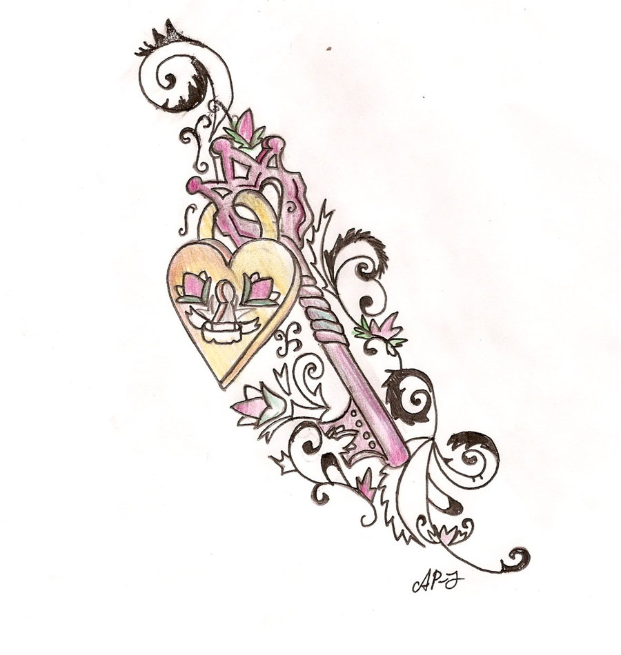 Pics photos heart lock flowers n key tattoo design - All Images To Traditional Key Heart Lock N Banner Tattoo Design