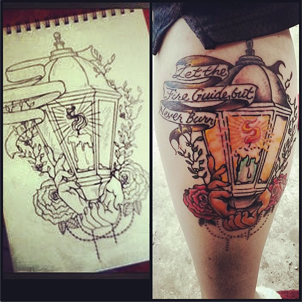 Traditional Lantern Tattoo Design