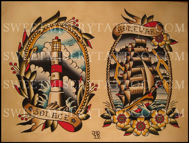 Traditional Lighthouse And Ship Tattoo Set