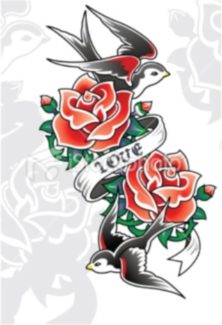 Traditional Lipstick With Banner And Flower Tattoos