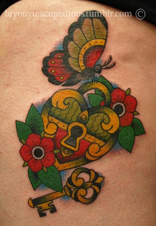 Traditional lock and key tattoos