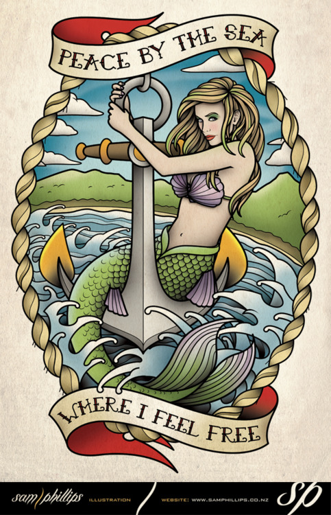 Traditional Mermaid And Anchor Tattoo Flash In 2017 Real Photo