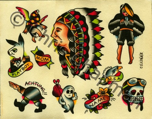Traditional Native American Tattoos Sheet