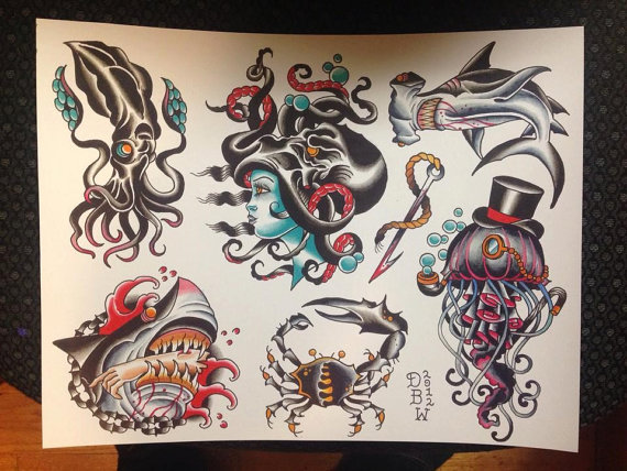 Traditional Nautical Stars And Ship Tattoo Flash