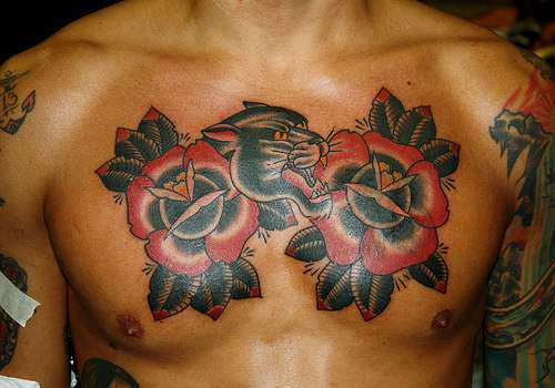 Traditional Panther And Red Roses Tattoos
