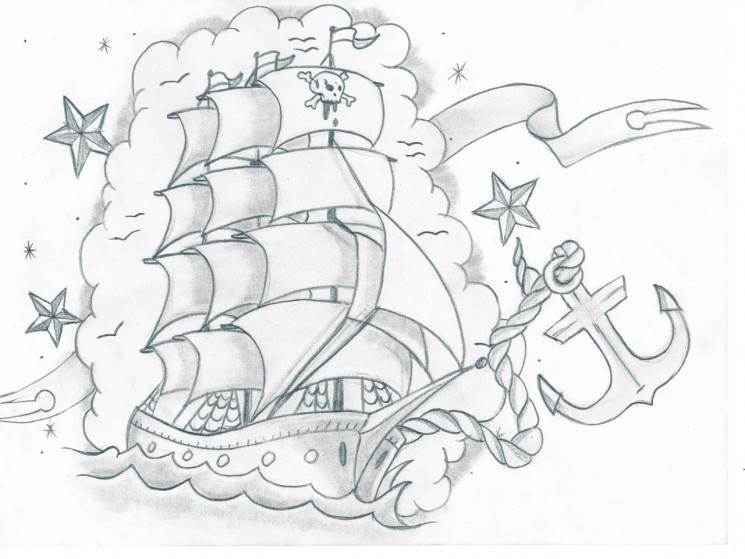 Traditional Pirate Ship And Shark Tattoos