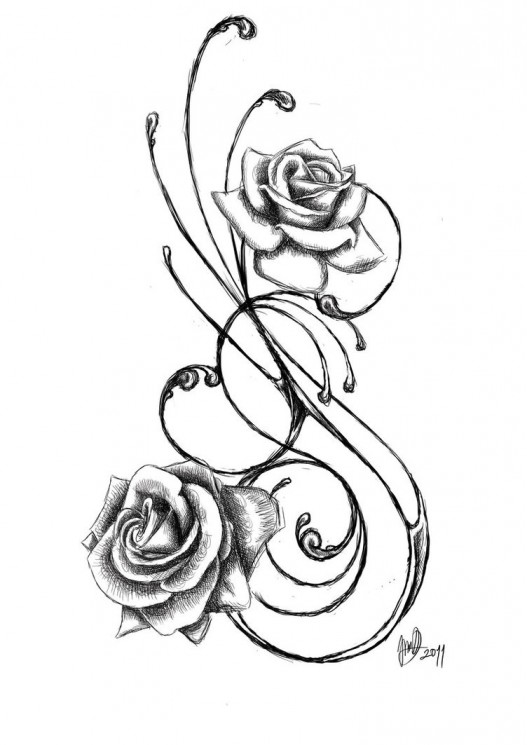 Traditional Rose Banner Tattoo