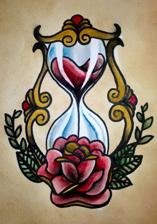 Traditional Rose Bottle Tattoo Flash