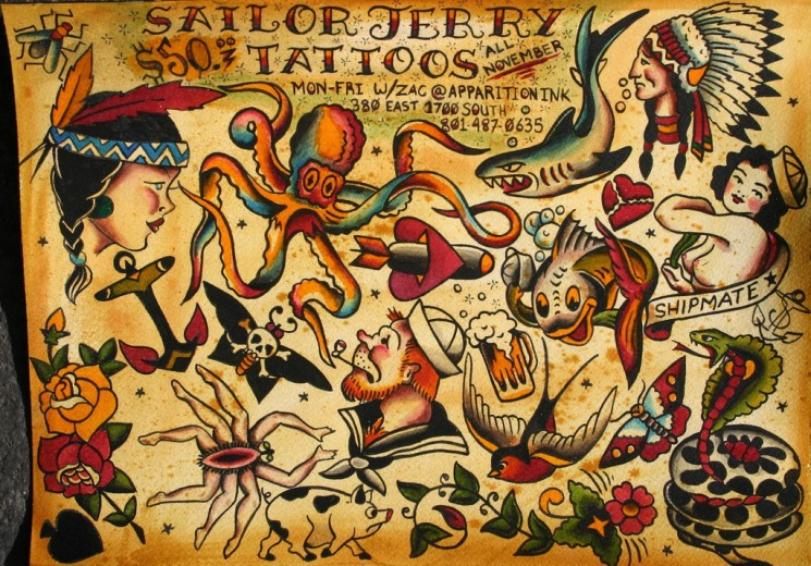 Traditional Sailor Jerry American Tattoos Sheet