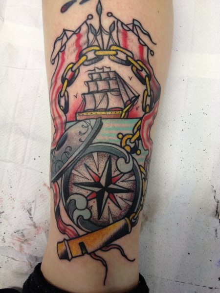 Traditional Ship With A Compass Tattoos On Leg