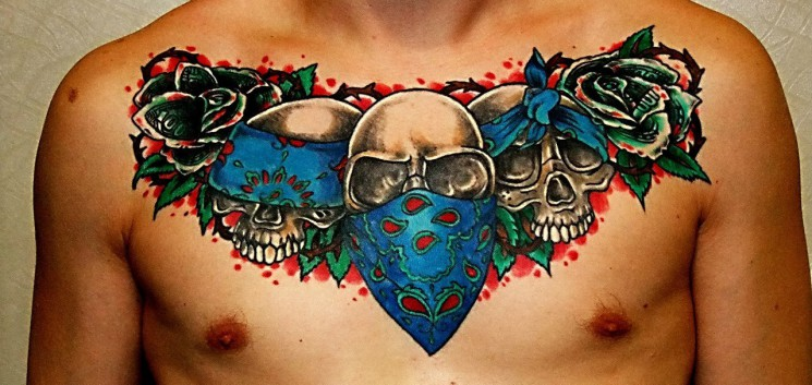 Traditional Skull Tattoo In The Style Of Gangsta Rap