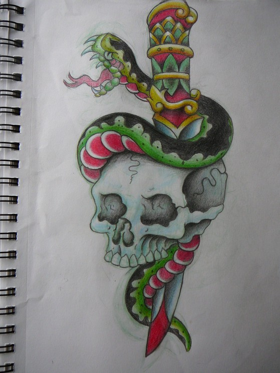 Traditional Snake Skull And Dagger Tattoo Designs