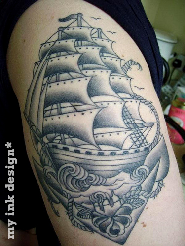 Traditional Swallow With A Pirate Ship Tattoo