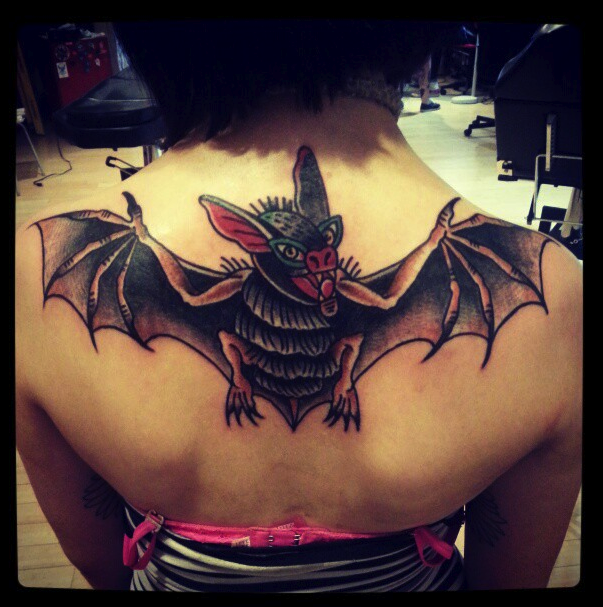 Traditional Tattoo Picture On Upper Back