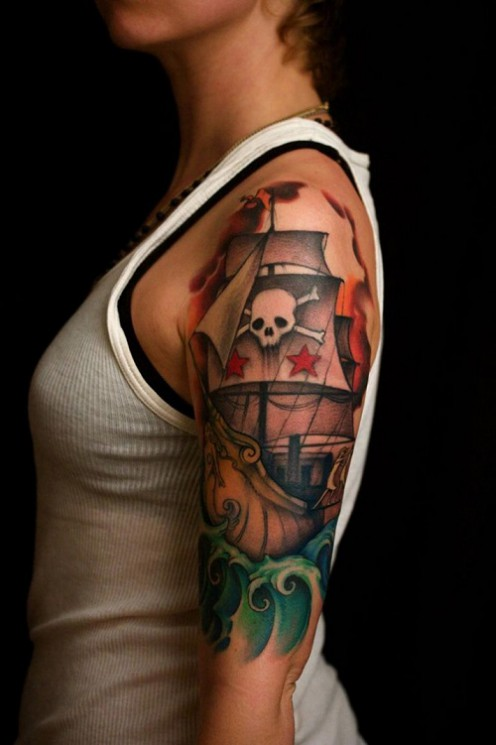 Traditional Waves And Bottle Tattoos