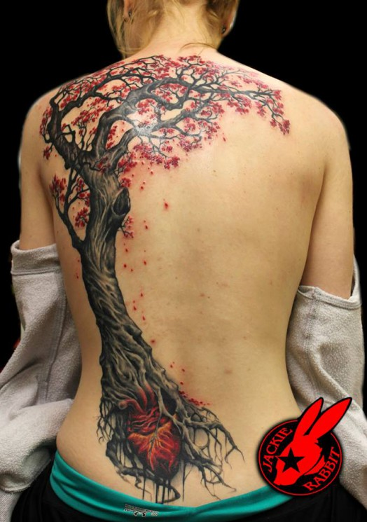 Tree And Heart Back Piece Tattoos For Girls